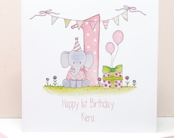 Personalised Girls First Birthday Card