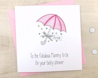 personalised baby shower card handmade personalised baby shower cards pink baby shower card