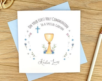 Personalised First Holy Communion Card - 1st Holy Communion Card - Son, Godson, Nephew