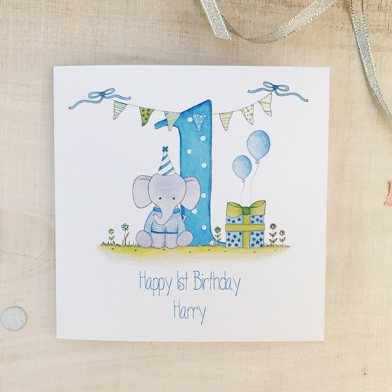 Personalised 1st Birthday Card For A Boy Blue Elephant