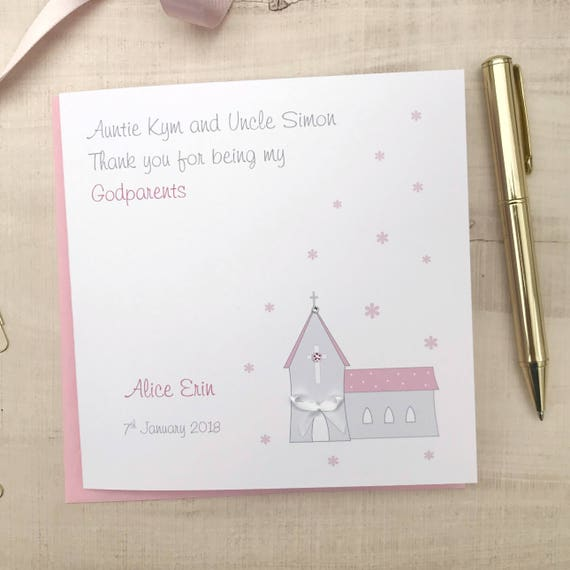Personalised Godparents Thank You Card Godmother Thank You Etsy