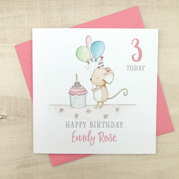 Personalised Childrens Birthday Card Mouse Birthday Card Etsy