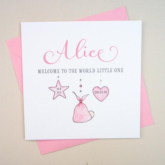 Handmade Personalised New Baby Girl Card