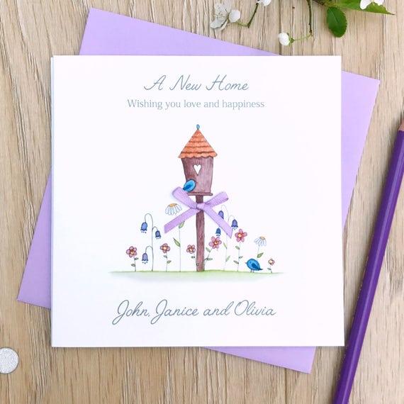 PERSONALISED Handmade Card NEW HOME Birds