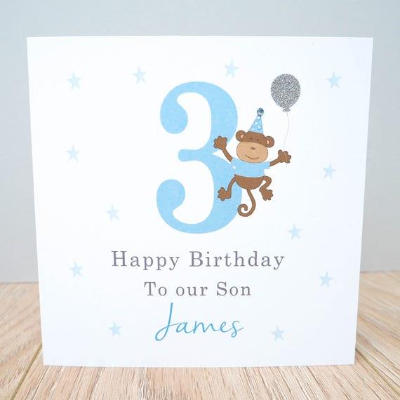 Personalised Monkey Birthday Card Boys