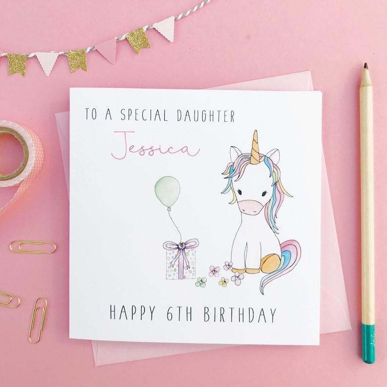 Personalised Unicorn Birthday Card Daughter