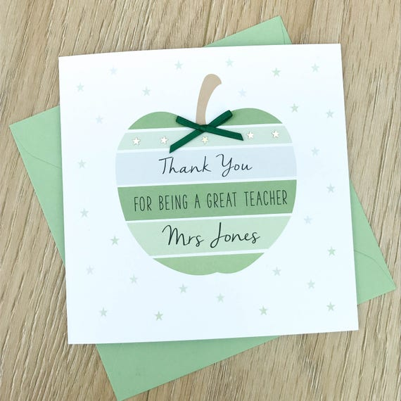 Personalised Teacher Thank You Card Teaching Assistant Thank Etsy
