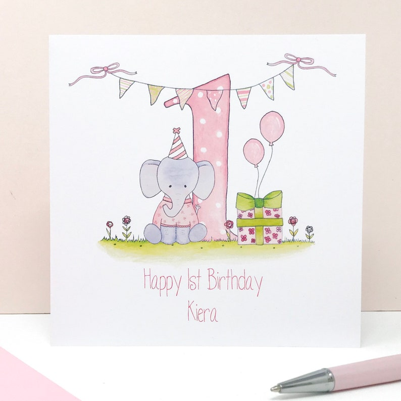 Personalised Girls First Birthday Card 1st