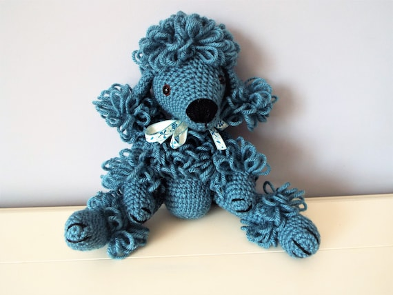 Blue poodle puppy Crochet poodle Amigurumi puppy dog Home decor Kids Boys Girls  Baby shower Gift idea Crochet animals Dolls Knitted dog