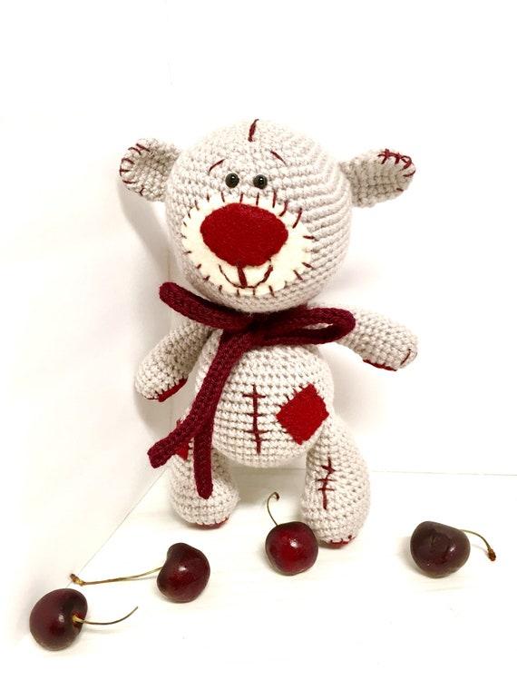 Crochet Cherry Teddy bear old fashioned Teddy kids gifts ideas baby shower home decor interior design boys girls Amigurumi Teddy bear cute