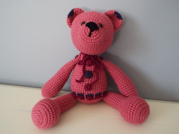 Crochet dark pink teddy bear amigurumi doll home decor kids boys girls baby shower gifts idea  pink teddy bear soft toys interior decoration