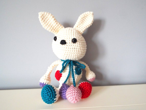 Crochet handmade white bunny rabbit Amigurumi Home decor Kids Baby shower Gift ideas Soft dolls Stuffed bunny rabbit Polka dot Boys Girls