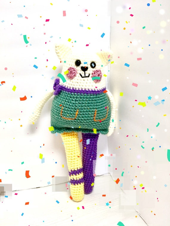 Crochet rag doll kitten Amigurumi kids baby shower gift ideas cute soft knitted doll home and nursery decor
