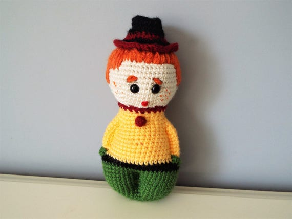 Crochet cute boy doll Amigurumi Baby shower Gift ideas Kids Boys Girls Interior decoration Home decor Soft doll Reddish hair knitted doll