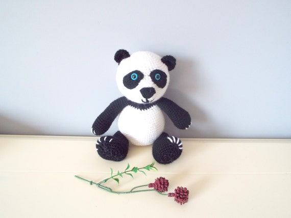 Handmade crochet Panda bear doll Kids Amigurumi Handmade doll Crochet animals Handmade gifts Crochet toys Boys Girls Decor Panda teddy bear