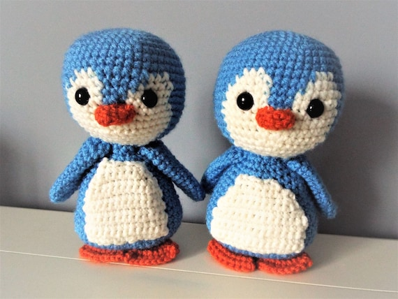 Crochet blue penguin Amigurumi Doll Baby shower Gift ideas Kids Boys Girls Home decor Interior decoration Crochet sea animals Soft penguin