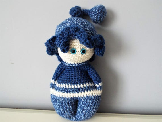 Crochet baby doll Amigurumi Baby shower Gift ideas Organic toy Toddler Nursery decoration Blue baby doll Home decor Kids Knitted doll Gifts