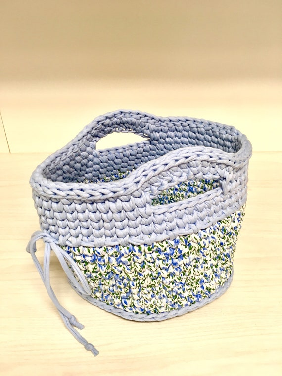 Crochet cotton blue basket home decor interior design kitchen decor gift idea