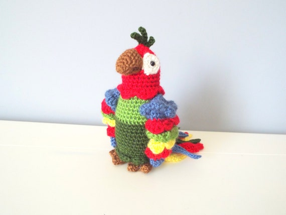 Handmade Crochet Parrot doll toy Amigurumi Gift ideas Home decor Kids toys Plush toy Crochet birds Baby toys Parrot stuffed animal sculpture