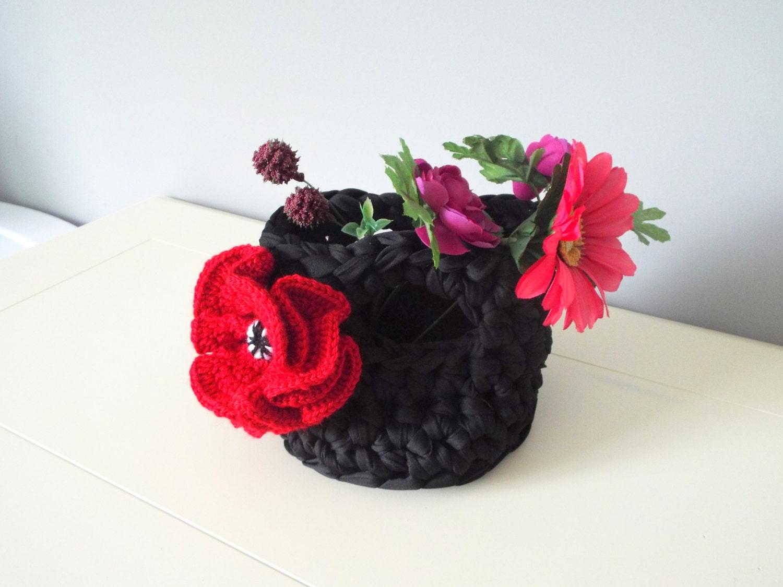 Crochet Basket Pattern Tshirt Zpagetti Thread Basket Poppy Flower