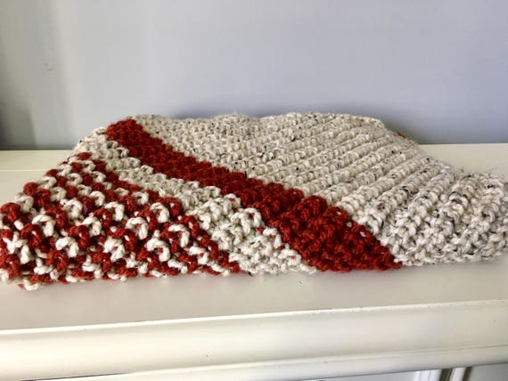 Knitted baby blanket warm wool blanket baby shower gift ideas homemade blanket off white and brick colored baby blanket