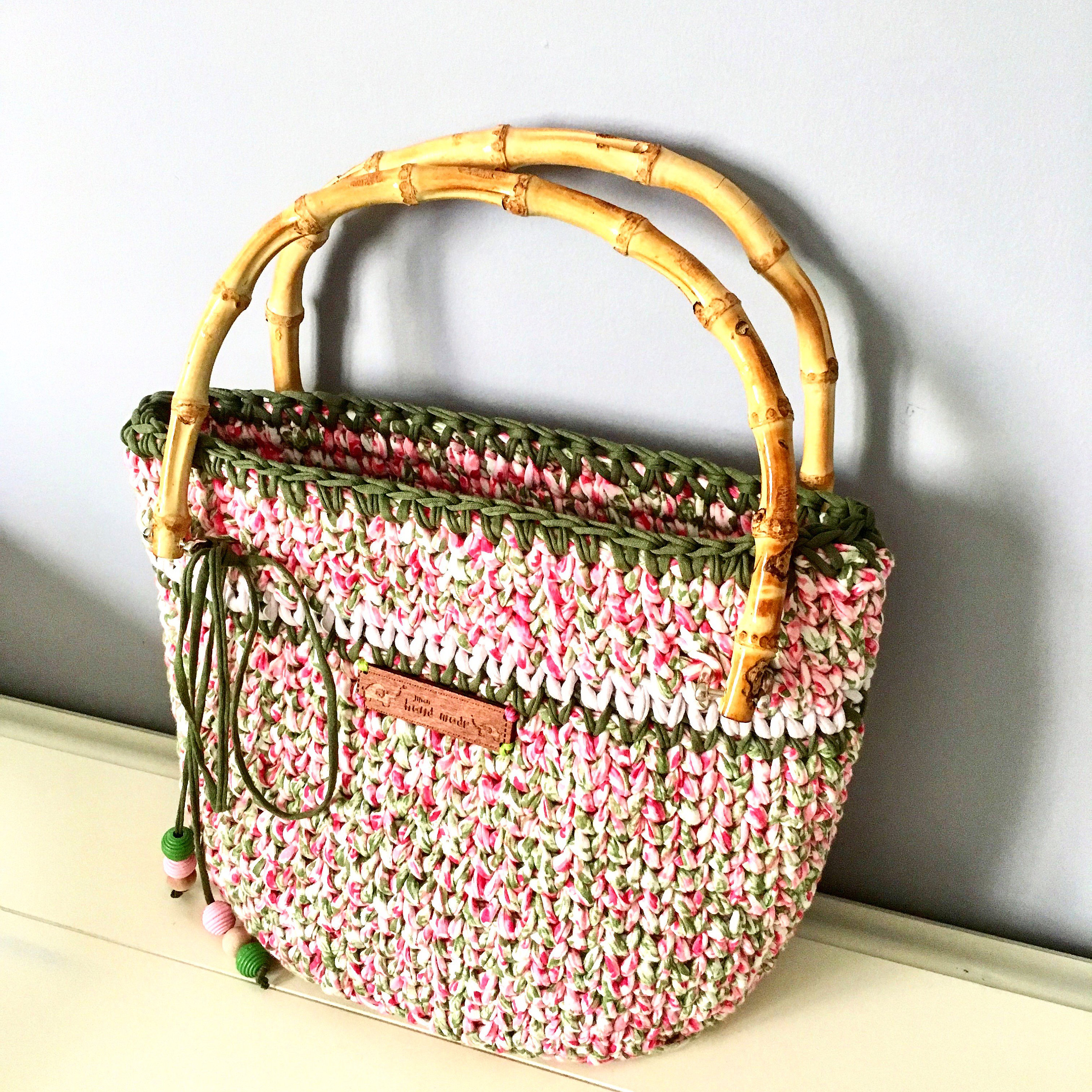 Crochet Handbag Made From Cotton Floral Thead With Wooden Handles