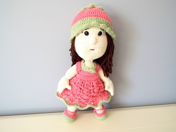 Crochet pink doll Kids Toys Baby shower Home decor Knitted doll Girls gift ideas Amigurumi Collectible art Cute doll Soft toy Pink hat doll