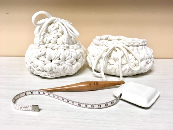 Crochet three white cotton baskets home decor gift ideas