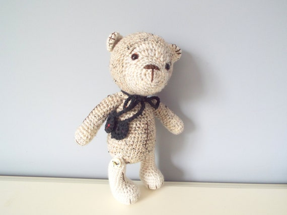 Handmade crochet Teddy bear Amigurumi doll Home decor Baby shower Gift ideas Kids Boys Girls Old-fashioned style teddy bear toy  Tweed bear