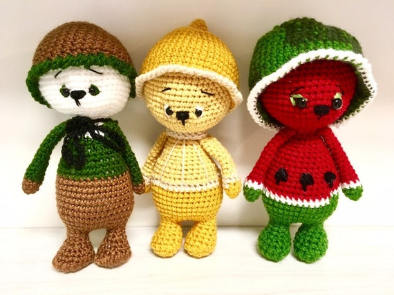 Crochet fruit bears kiwi lemon watermelon unique baby shower gift ideas amigurumi bear cute toy home decoration kids room nursery  decor