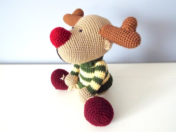 Crochet reindeer amigurumi forest stuffed animals home decor knitted reindeer kids baby shower gift ideas boys girls crochet dolls clowndeer