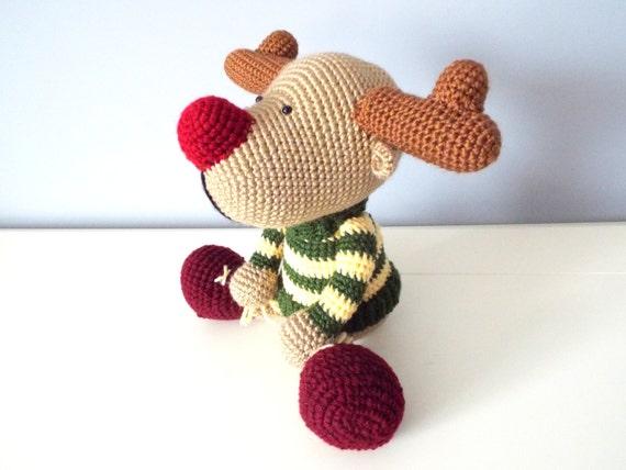 Crochet reindeer amigurumi forest stuffed animals home decor knitted reindeer kids baby shower gift ideas boys girls crochet dolls clowndeer