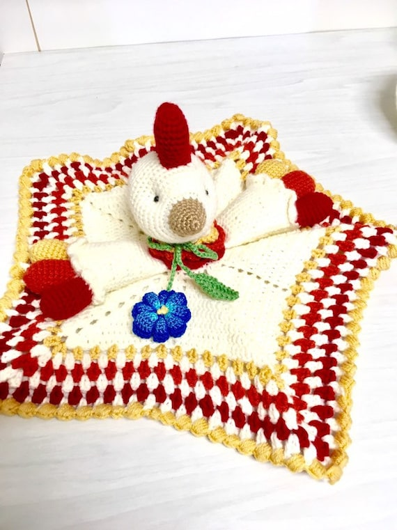 Crochet colorful rooster baby toy amigurumi with teethers home decor nursery decor baby shower gifts idea beautiful gift small blanket cute
