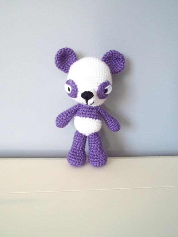 Crochet amigurumi panda bear Soft panda Purple panda Soft toys Stuffed animal Crochet toys Gift for kids Home decor Kids toys Handmade