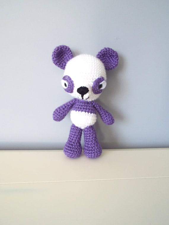 Crochet amigurumi panda bear Soft panda Purple panda Soft toys Stuffed animal Crochet toys Gift for kids Home decor Kids toys Handmade