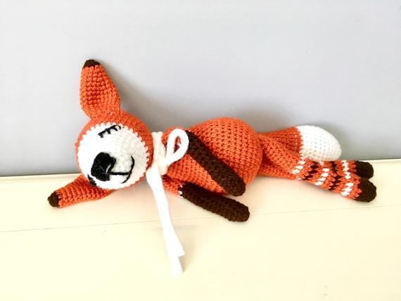 Crochet orange sleepy fox amigurumi fox doll kids gift ideas baby shower  homedecor soft fox toy boys girls interiordecor cute fox  unique
