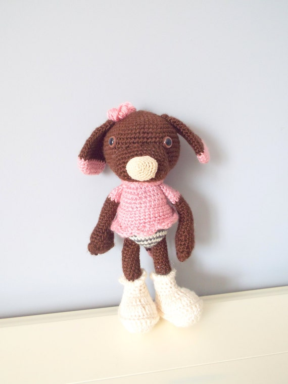Handmade crochet Puppy dog doll Crochet pet Soft toys Animal toy Gift for girl Amigurumi Collectible keepsake Stuffed puppy dog Home decor