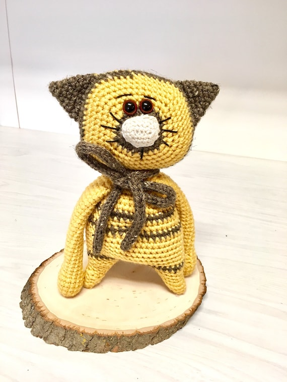 Crochet amigurumi yellow kitten baby shower gift ideas kids home decor knitted doll nursery decor yellow cat girl boys