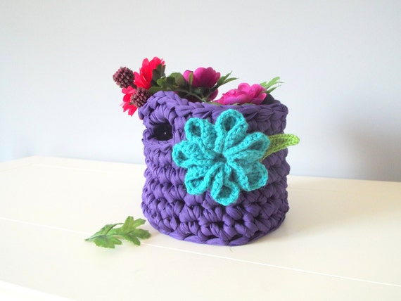 Handmade crochet basket Home decor Crochet gifts Floral basket Storage and organization  T shirt Zpagetti Basket Storage basket Gifts ideas
