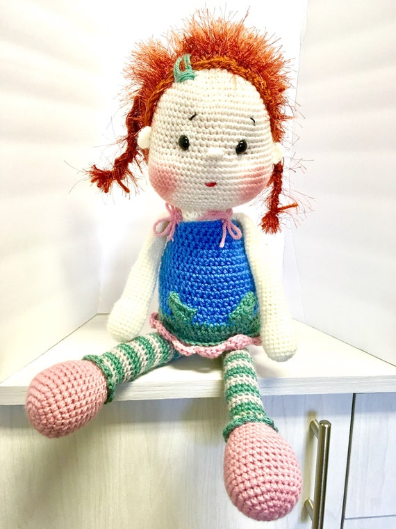 Crochet doll Amigurumi Kids Gift idea Girls soft doll Baby shower Home decor Nursery interior design Cute doll One of a kind reddish hair