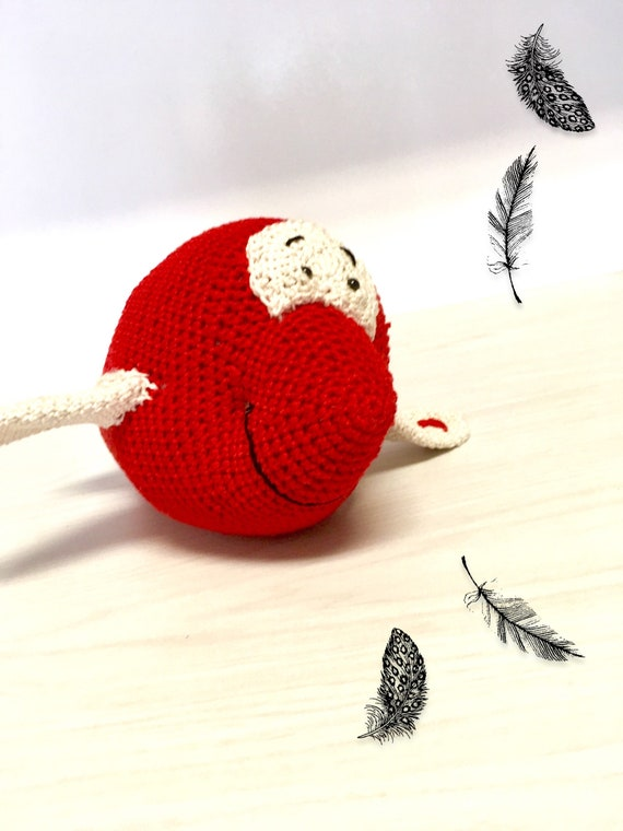Crochet red cartoon airplane amigurumi kids room decor gift ideas boys  baby shower homedecor soft toys natural organic toy doll gifts