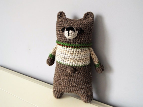 Crochet bear Amigurumi bear Lazybones Doll Kids Boys Girls Baby shower Gift idea Interior decorations Home decor Brown bear Cute bear doll