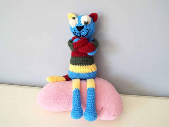 Crochet colorful happy cat kids amigurumi stuffed animals gift ideas home decor knitted dolls baby shower boys girls handmade toy cat dolls