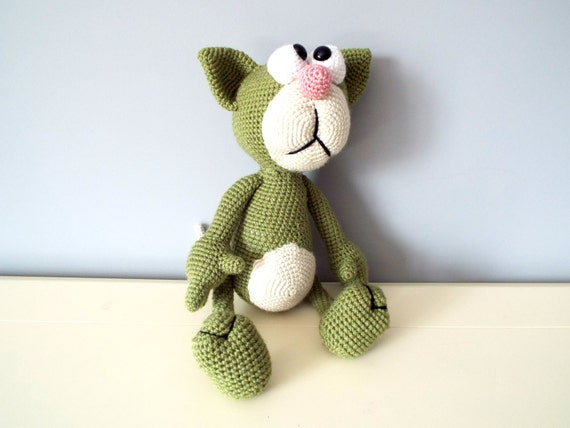 Crochet cat Amigurumi Green hand knitted cat Gift ideas for Kids Baby shower Home decor Stuffed cat Boys Girls plush animal Dolls Handmade