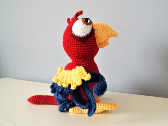 Crochet red parrot amigurumi doll baby gift kids boys girls home decor baby shower gift ideas crochet birds stuffed parrot handmade toys