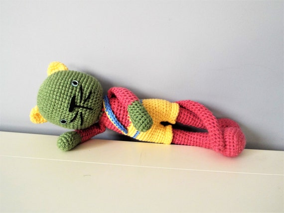 Crochet cat amigurumi kids boys girls home decor baby shower colorful cat handmade toys cat doll gift ideas green cat baby toys colorful