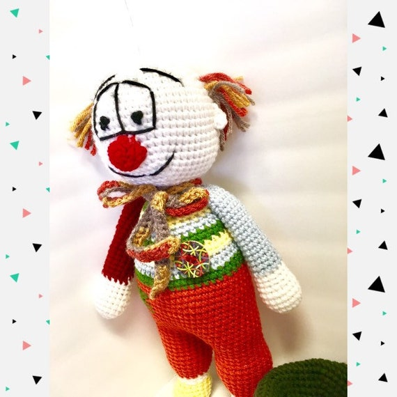 Crochet amigurumi clown kids toys home decor boys girls baby shower gift ideas happydoll colorful clown jolly