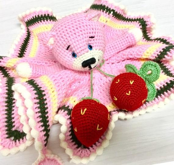 Crochet pink Teddy bear amigurumi  teddy bear with small blanket and teethers baby shower gift idea home decor nursery decor boys nursery