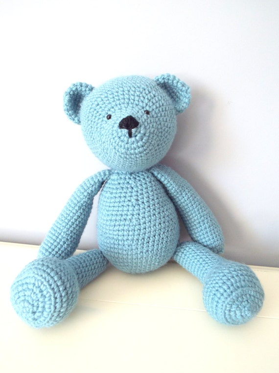 Crochet Teddy Bear Dolls Handmade Amigurumi Home decor Kids toys Stuffed animal Baby shower Gift ideas Boys Collectible blueTeddy Bear  Gift