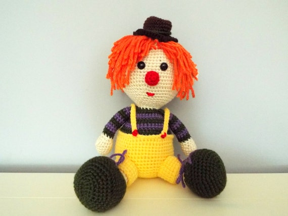 Crochet clown Doll Amigurumi Kids toys Circus Gifts ideas Home decor Vintage clown knitted doll baby shower Jolly Clown  Boys Girls